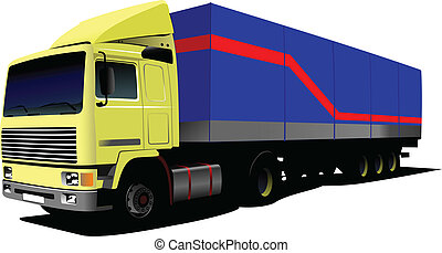 Vector illustration of yellow truc