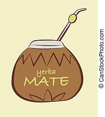 Vector illustration of yerba Mate, Calabash with Bombilla in...