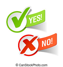 Vector illustration of Yes and No check marks