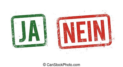 Yes and no stamp in German