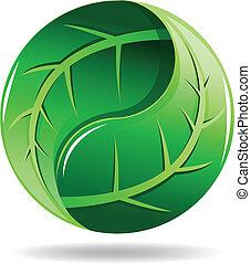 Yin Yang symbol in a leaf design