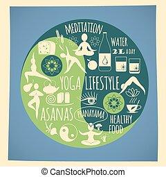 Vector illustration of yoga lifestyle.