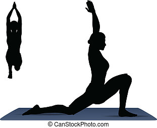 Vector Illustration of Yoga pose on a yoga mat -...