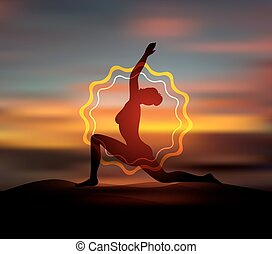 Yoga pose silhouette - Vector illustration of Yoga pose...