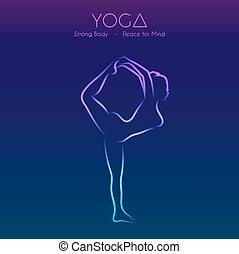 Yoga pose woman's silhouette
