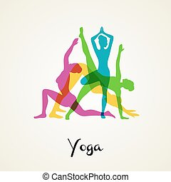 Yoga poses silhouette - Vector illustration of Yoga poses ...
