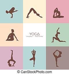 Yoga poses woman's silhouette
