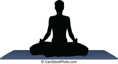 vector illustration of Yoga positions in Meditation pose -...
