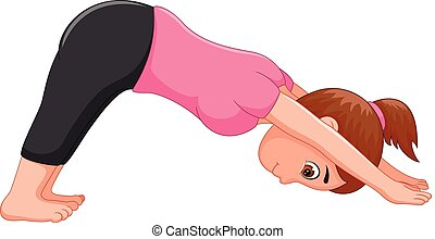 Yoga sport coach cartoon in action face down