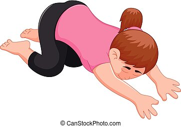 Yoga sport coach cartoon posing with face down