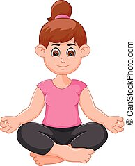 Yoga sport coach cartoon practicing with smile