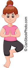 Yoga sport coach cartoon standing on one leg with smiling