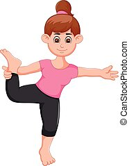 Yoga sport coach cartoon standing with smiling