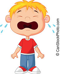 Vector illustration of Young boy cartoon crying