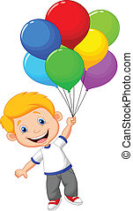 Young boy cartoon flying with ballo