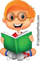 Young boy cartoon reading book