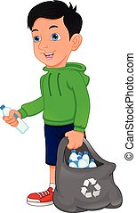 young boy holding bag of plastic bottles, garbage recycling