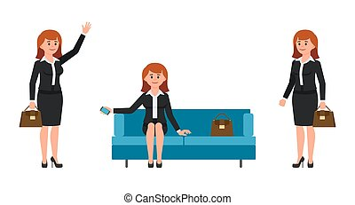 Vector illustration of young businesswomen