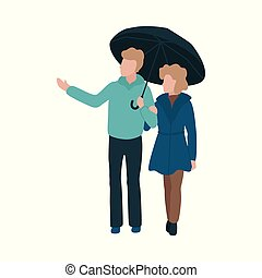 Vector illustration of young couple holding hands walking under umbrella.