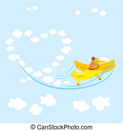 couple in love flying - vector illustration of young couple...