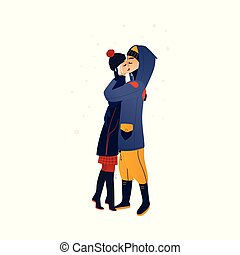 Vector illustration of young couple in love kissing with tenderness under snowfall.