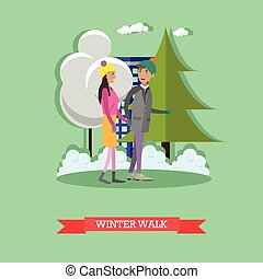 Vector illustration of young couple walking in the street
