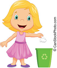 Young girl cartoon throwing trash i - Vector illustration of...