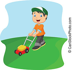 Vector illustration of Young man cartoon cutting grass with a push lawn mower