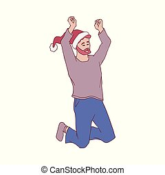 Vector illustration of young man in warm home clothes and red Santa Claus hat jumping with happiness.