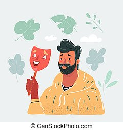 Vector illustration of young man taking off happy mask revealing true sad face