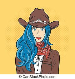Vector illustration of young pretty girl in cowboy hat. Pop art style. Wild West.