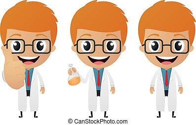 Vector Illustration of young scientist cartoon