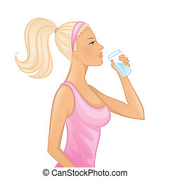 Young woman drinking water - Vector illustration of Young...