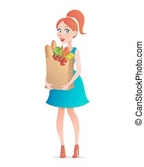 Vector illustration of young woman holding paper bag of groceries. Girl with vegetables in supermarket. Cartoon style