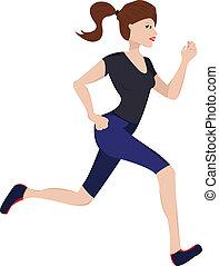 woman jogging - Vector illustration of young woman jogging