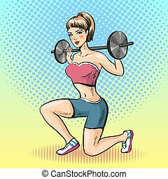 Vector illustration of young woman with barbell, pop art style