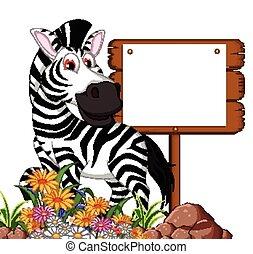 zebra cartoon with blank board