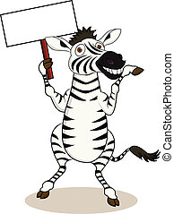 Zebra cartoon with blank sign