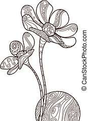 Vector illustration of zentangle flowers with wave patterned ball.