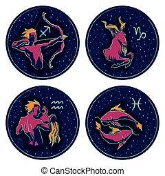 Zodiac Signs. Sagittarius, Capricorn, Aquarius, Pisces.