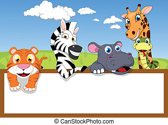Zoo Animal Cartoon With Wooden sign - Vector Illustration Of...