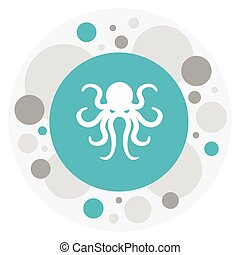 Vector Illustration Of Zoo Symbol On Octopus Icon. Premium Quality Isolated Tentacle Element In Trendy Flat Style.