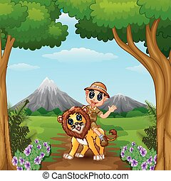 Zookeeper boy and a lion in jungle - Vector illustration of...