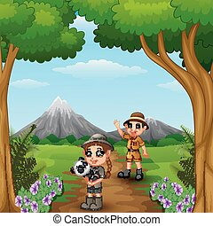 Zookeeper boy and girl with panda in the jungle - Vector...