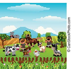 Zookeeper with the animals in the farm background - Vector...