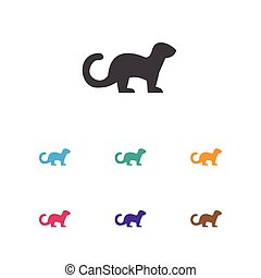 Vector Illustration Of Zoology Symbol On Ferret Icon....