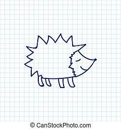Vector Illustration Of Zoology Symbol On Hedgehog Doodle Premium Quality Isolated Urchin Element In Trendy