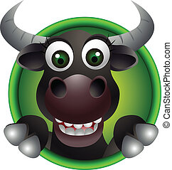 vector illustration ofcute bull head cartoon