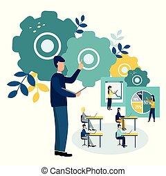 Vector illustration Office staff training. Team thinking. Increase sales and skills