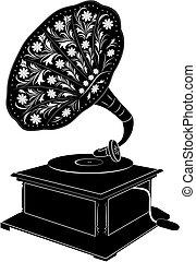 Vector illustration og retro gramophone isolated on white background